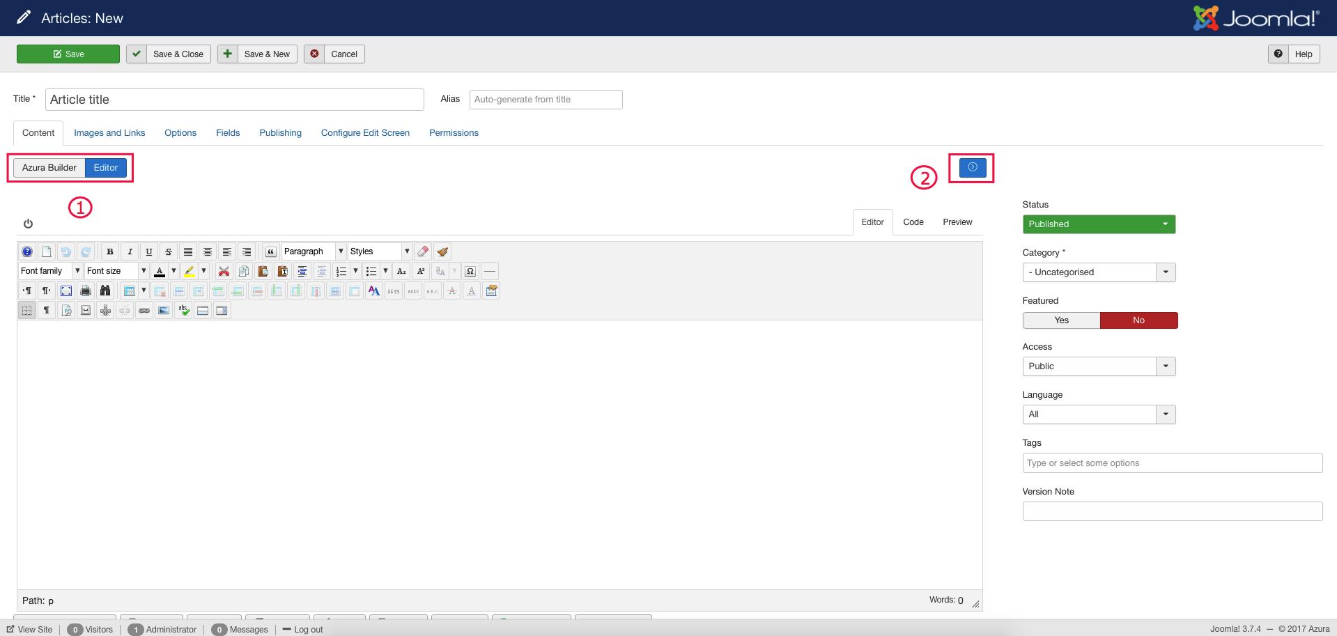 Azura Builder - Editor